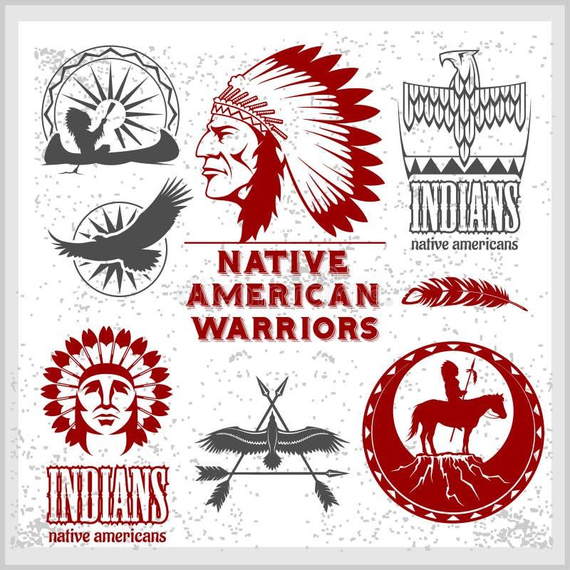 Set dzicy zachodni amerykańsko-indiański projektujący elementy Monochromu styl royalty ilustracja