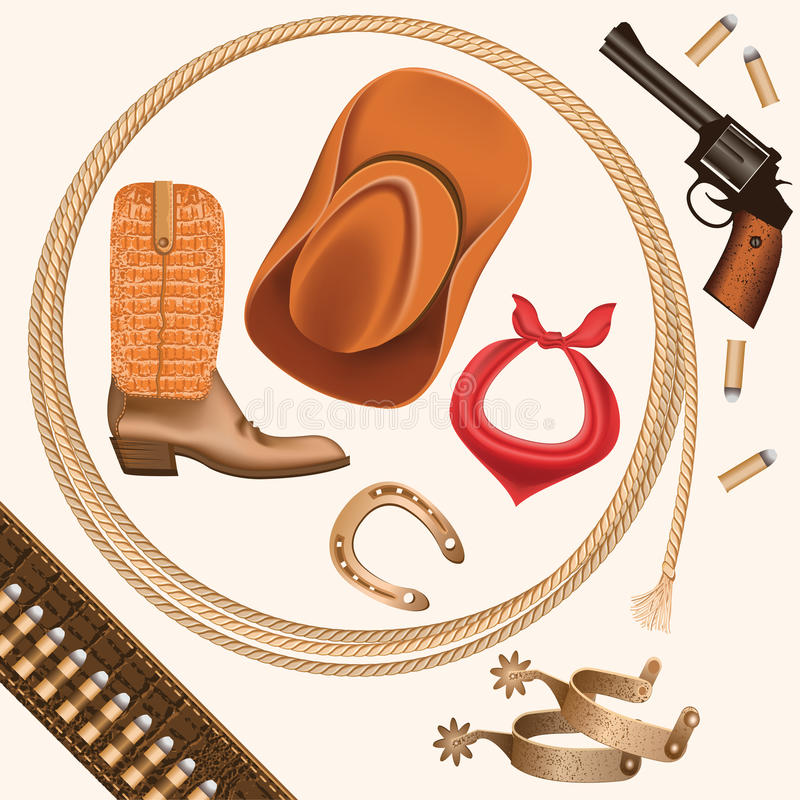 Set dzicy zachodni kowbojów przedmioty odizolowywający na bielu royalty ilustracja