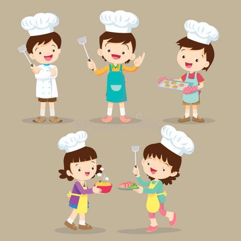 Set dzieci Gotować ilustracja wektor