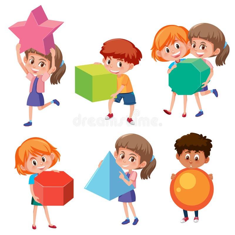 Set dzieci trzyma matematyki geometrii kształty ilustracja wektor