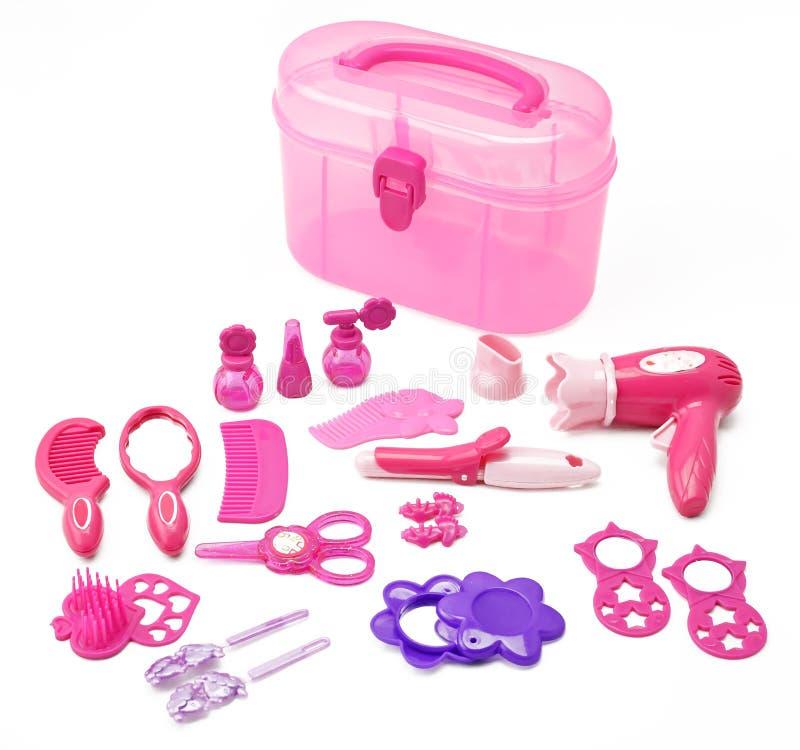 Set dzieci zabawkarscy dla dziewczyny fryzjerstwa gemowego zestawu dla dziewczyn odizolowywać na białym tle zdjęcie stock