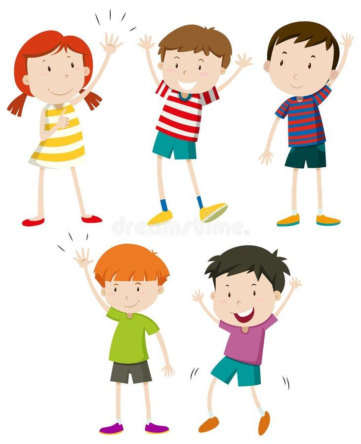 Set dzieciaków Machać ilustracji