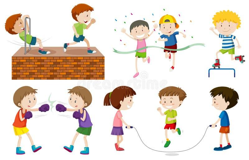 Set dzieciak aktywność ilustracji
