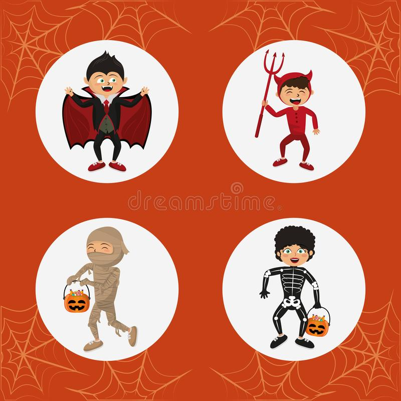 Set dzieciaka Halloween kostiumy ilustracja wektor