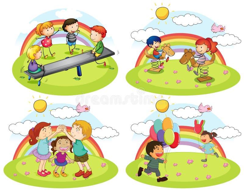 Set dzieciaki Bawić się przy boiskiem royalty ilustracja