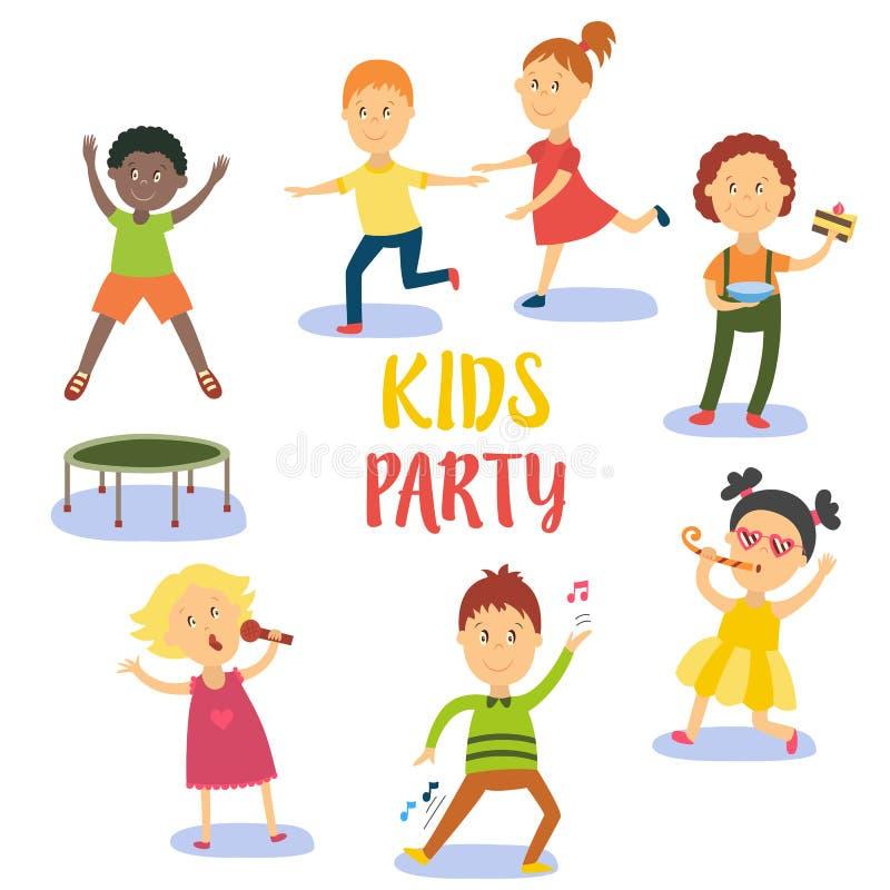 Set dzieciaki, dzieci ma zabawę przy przyjęciem urodzinowym ilustracja wektor