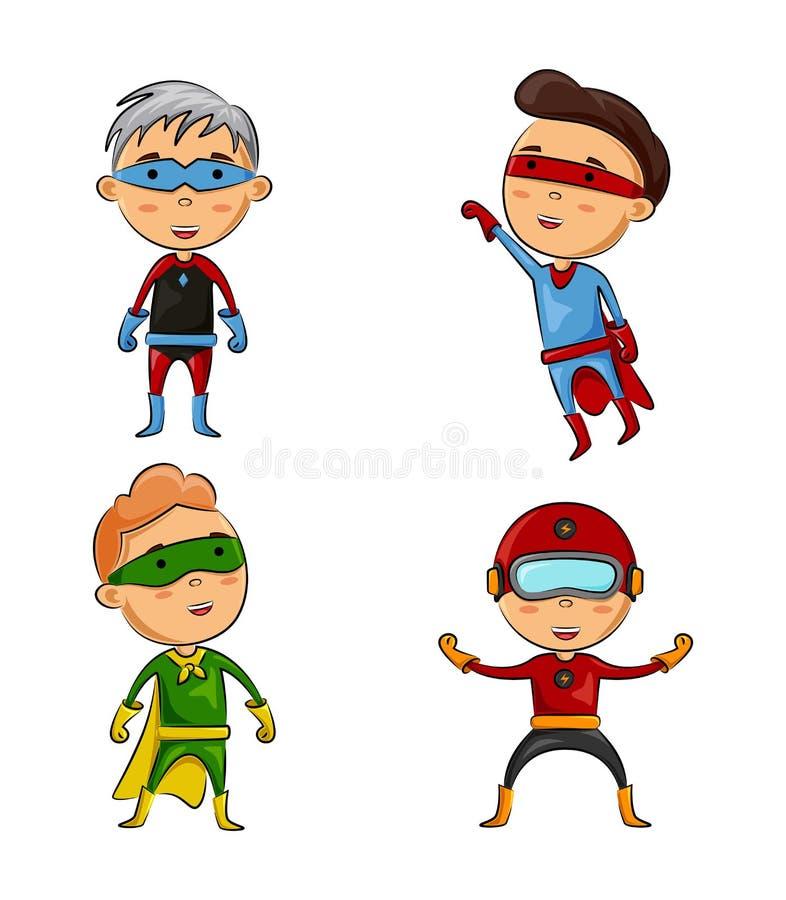 Set dzieciaki jest ubranym bohaterów kostiumy z różną pozą royalty ilustracja