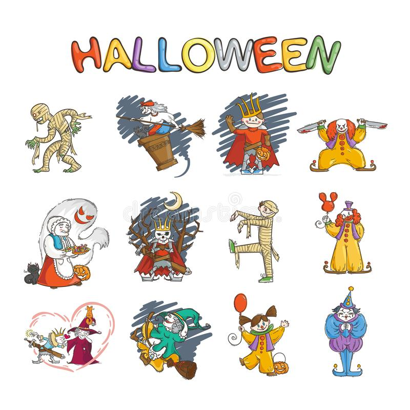 Set dzieciaki w kostiumach dla Halloween I czarownicy i gul Lich Koschey lub rosyjski królewiątko, mamusia, błazen ilustracja wektor