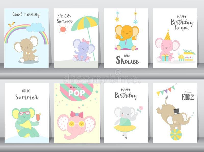 Set dziecka wszystkiego najlepszego z okazji urodzin i prysznic zaproszeń karty, plakat, powitanie, szablon, zwierzęta, słoń, śli ilustracja wektor