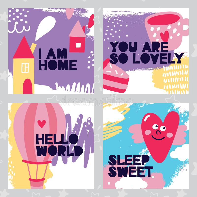 Set dziecko śliczne karty, jestem domem, uroczym, cześć świat, cukierki, serce, kulebiak, tort, filiżanka, skrzydła, menchie, kol ilustracja wektor