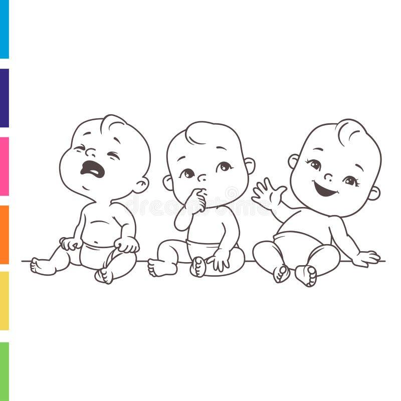 Set dziecko emocji portrety Śliczni mali dzieci siedzi wpólnie w pieluszce royalty ilustracja