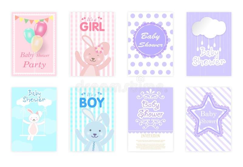 Set dziecko prysznic karty, urodzinowa karta, kartka z pozdrowieniami śliczna fura ilustracja wektor