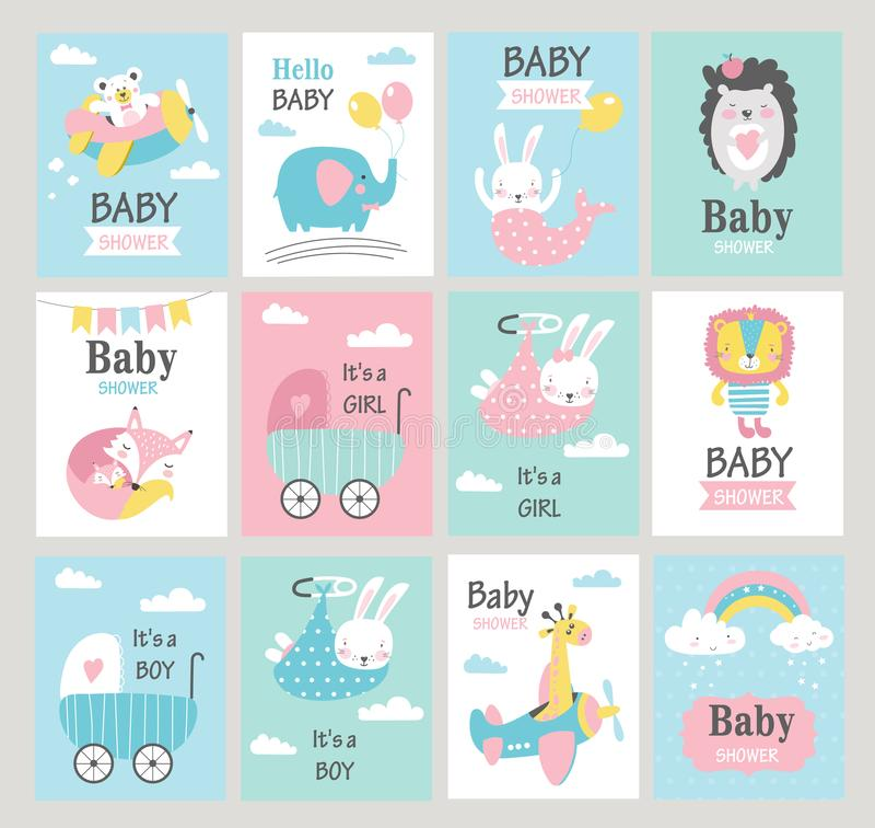 Set dziecko prysznic karty z ślicznymi zwierzętami wektor ilustracji