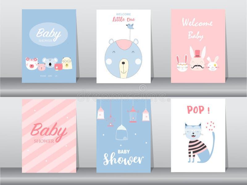 Set dziecko prysznic zaproszenia karty, urodziny, plakat, szablon, powitanie, śliczne, zwierzęce, Wektorowe ilustracje, royalty ilustracja