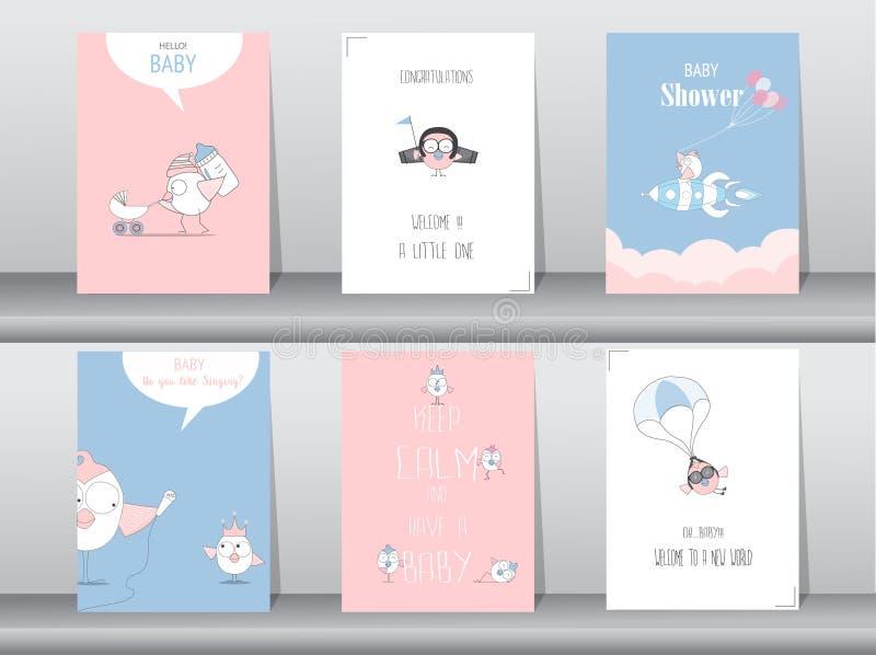 Set dziecko prysznic zaproszenia karty, urodziny, plakat, szablon, powitanie, zwierzęta, śliczni, ptaki, Wektorowe ilustracje ilustracji