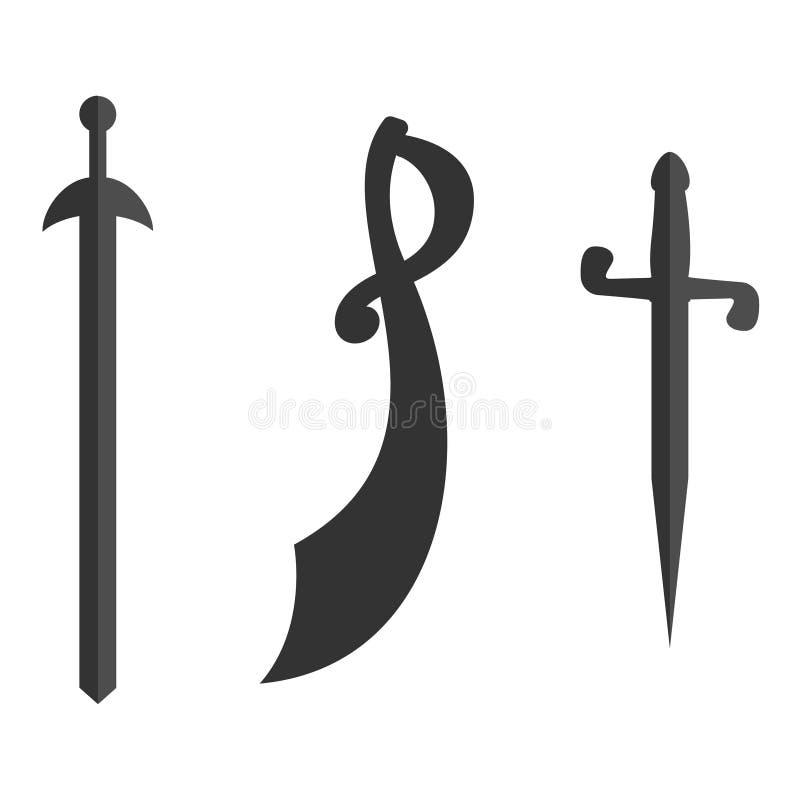 Set dziejowe kordzika saber sylwetki Ilustracja z wektorem sieka bronie Kawaleria kordzik, szabla na bielu royalty ilustracja
