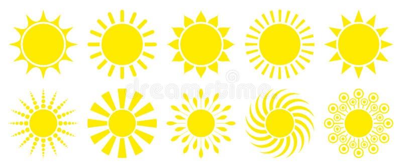 Set Dziesięć Żółtych Graficznych słońc ikon royalty ilustracja