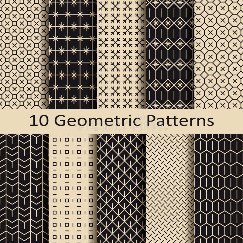 Set dziesięć bezszwowych monochromatycznych geometrycznych wzorów royalty ilustracja