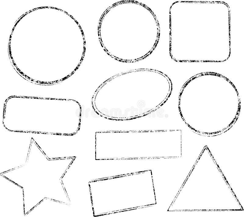 Set dziesięć grunge czarnych wektorowych szablonów dla pieczątek ilustracji