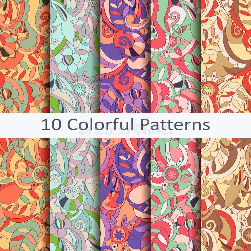 Set dziesięć kolorowych wzorów royalty ilustracja