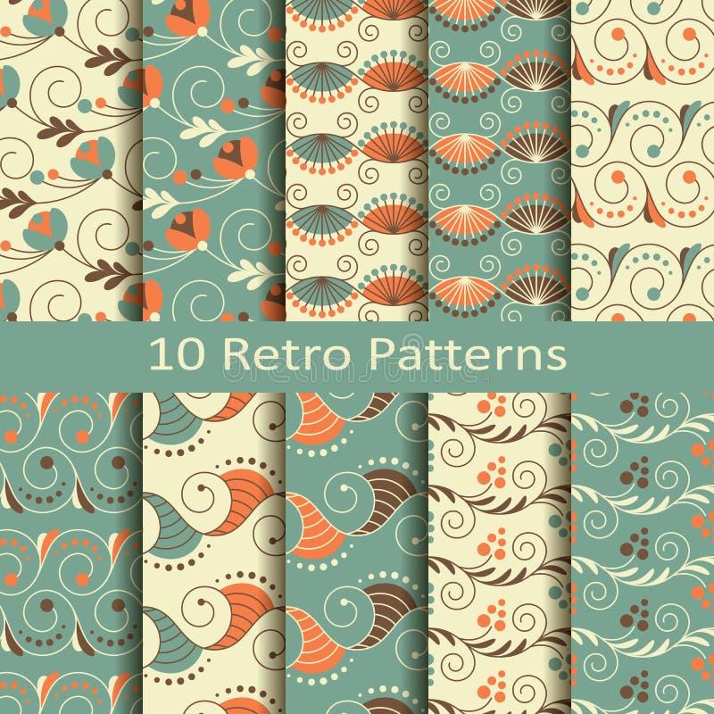 Set dziesięć retro wzorów ilustracja wektor