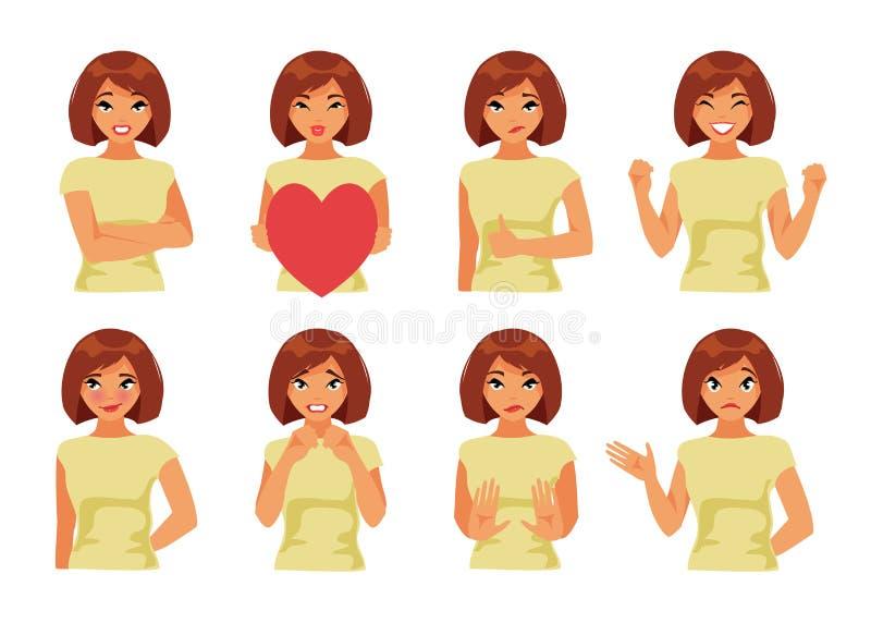 Set dziewczyna z różnymi emocjami Część 2 ilustracja wektor