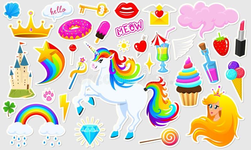 Set dziewczyny fasonuje śliczne łaty, zabawa majcherów, odznak i szpilek, Kolekcja różni elementy Princess i jednorożec royalty ilustracja