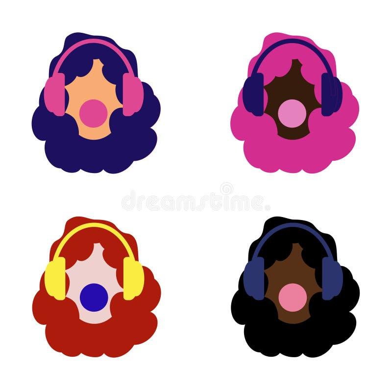 Set dziewczyny różni kolory kolorowy włosy Hełmofony i muzyka Młody i śmiały Guma do żucia ilustracji
