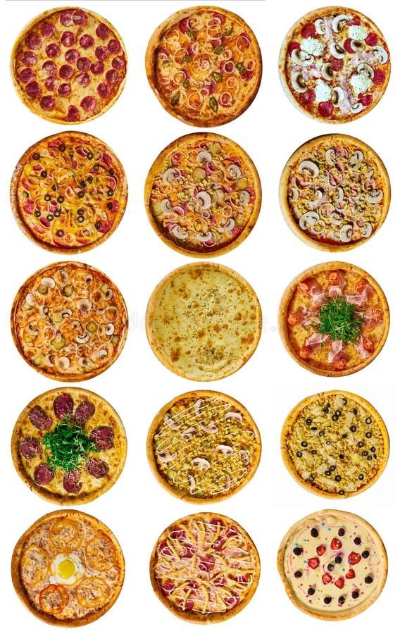 Set dziewięć różna pizza dla menu z serem, z baleronem, z salami, z pieczarkami, z holopina z pomidorami dalej fotografia royalty free