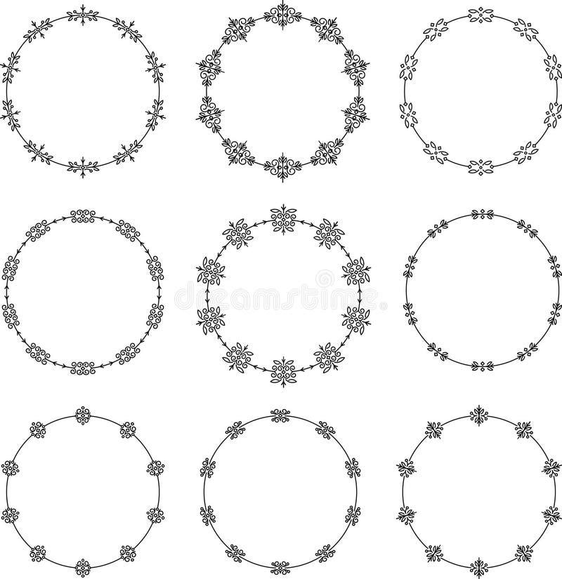 Set dziewięć dekoracyjnych round ram royalty ilustracja