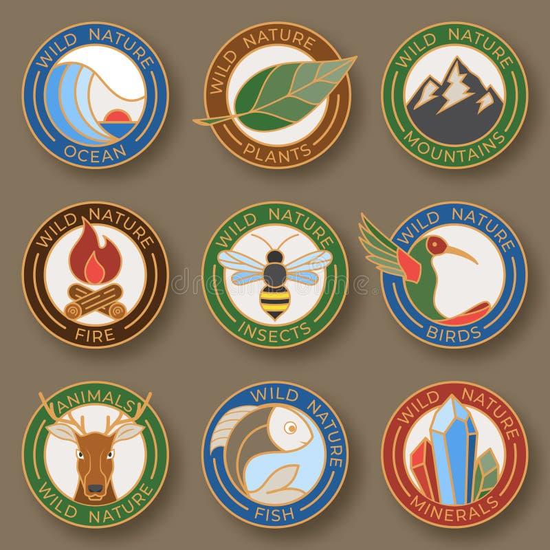 Set dziewięć eleganckich kreskowych insygni Logo koloru inkasowy kreskowy styl składa się dziką naturę Liniowi projektów elementy ilustracji