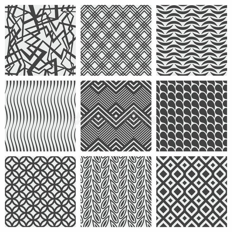 Set dziewięć geometrical wzorów ilustracja wektor