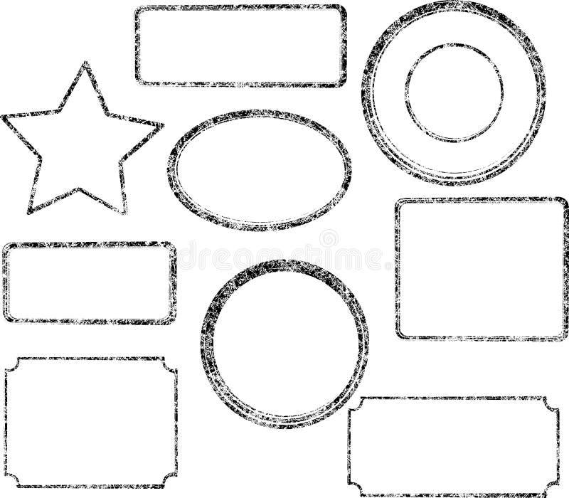 Set dziewięć grunge czarnych wektorowych szablonów dla pieczątek ilustracja wektor