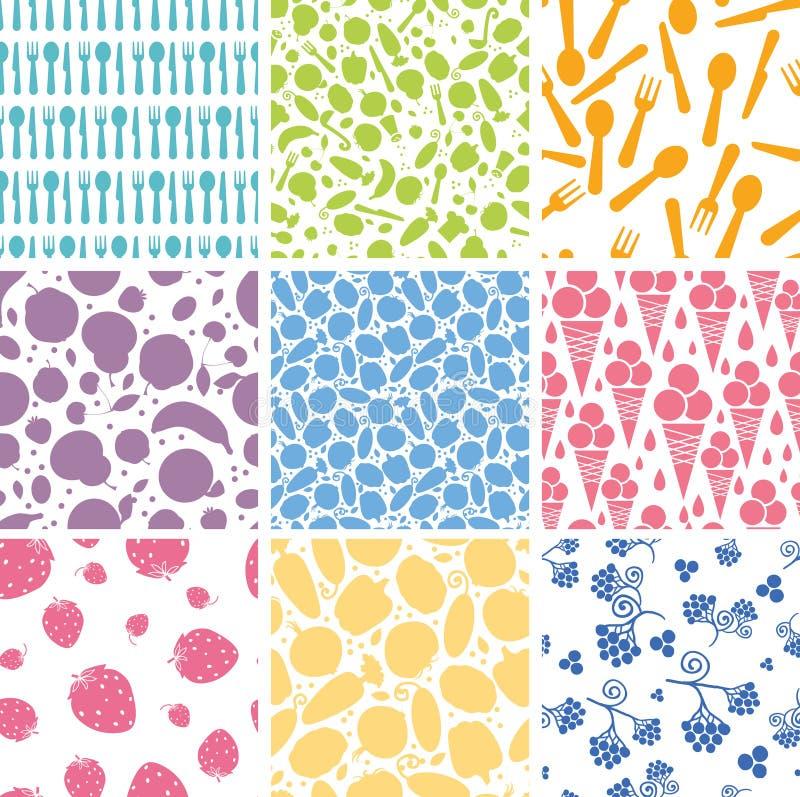 Set dziewięć karmowych bezszwowych wzorów tło ilustracji
