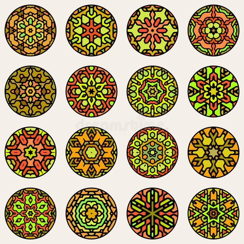 Set Dziewięć orientała gwiazdy Wektorowy Kolorowy Kółkowy Kwiecisty mandala Ornamentacyjny wzór ilustracji