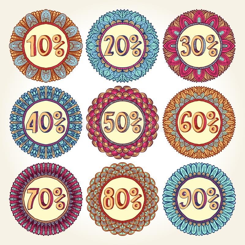 Set dziewięć rocznik sprzedaży ikon ilustracja wektor