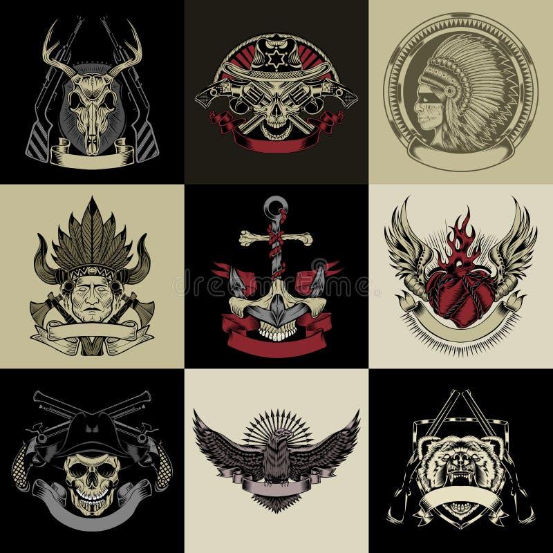 Set dziewięć sztuk etykietka royalty ilustracja