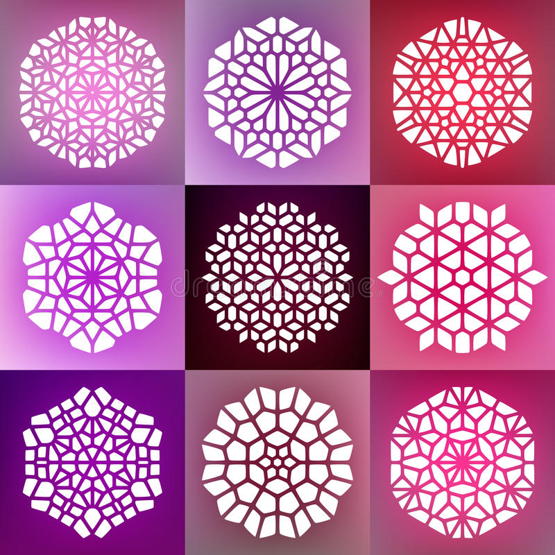 Set Dziewięć Wektorowych Dekoracyjnych mandala ornamentów Ilustracyjnych ilustracji
