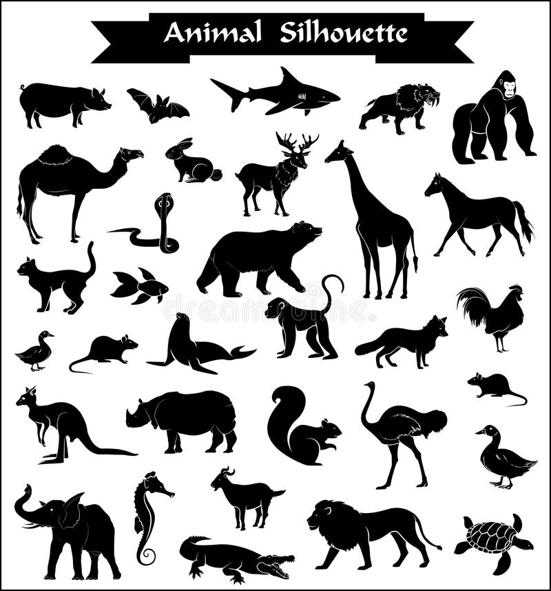 Set Dzikie i zwierzęta gospodarskie sylwetki ilustracja wektor