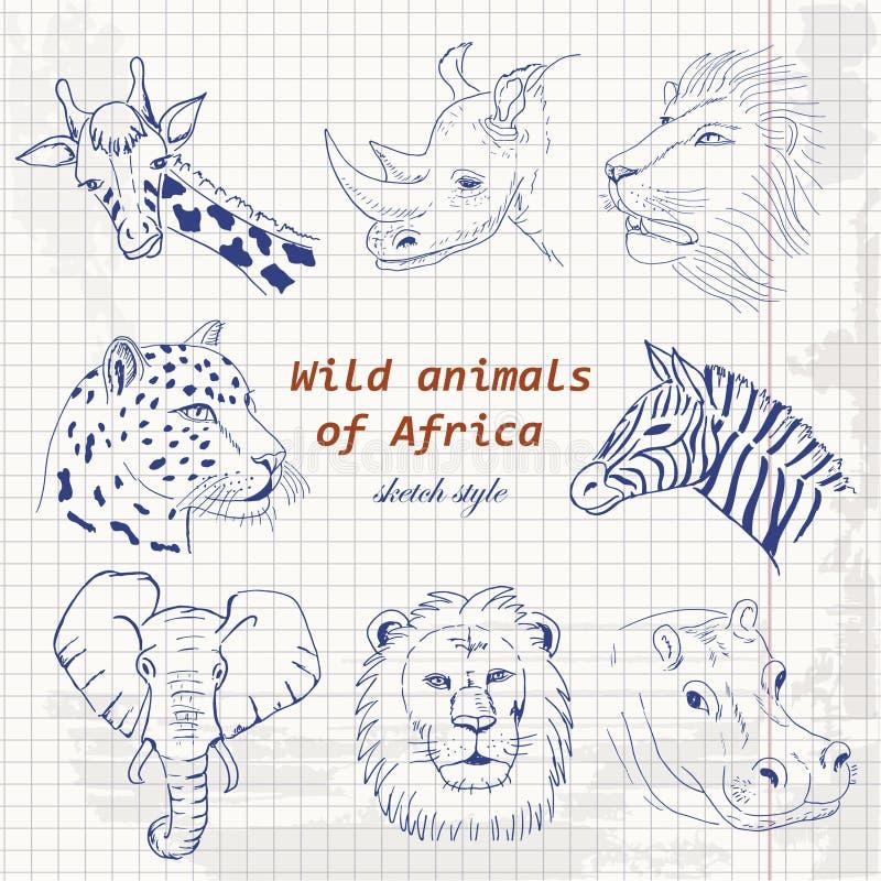 Set dzikie zwierzęta Afryka w nakreślenie stylu na papierze royalty ilustracja