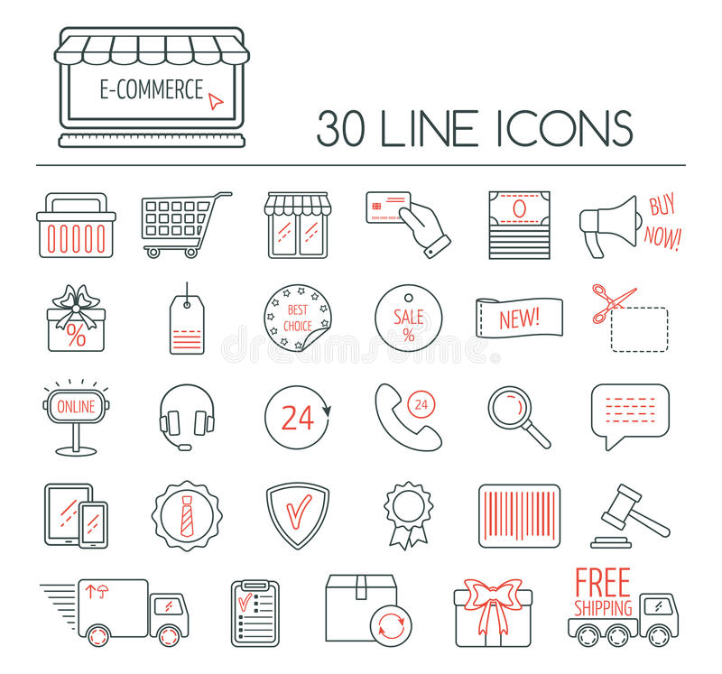 Set of e commerce linear icons modern line icons for business web download set of e commerce linear icons modern line icons for business web altavistaventures Images