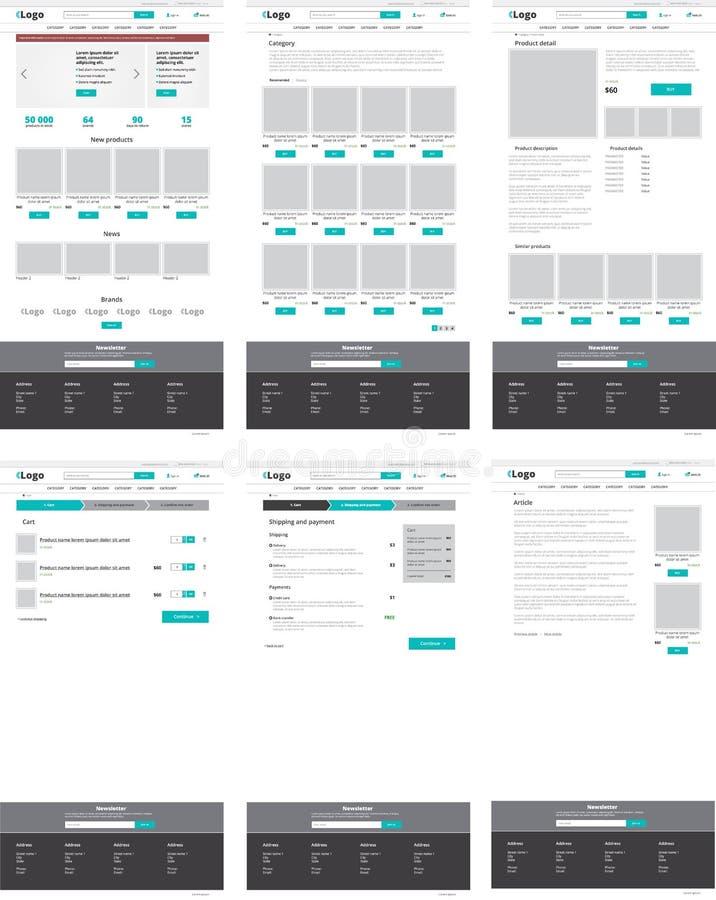 Set of e-commerce website templates. Set of ecommerce website templates. Homepage, category, product detail, shopping cart, article - modern vector flat design stock illustration