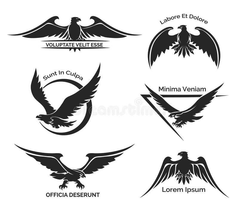 Set of eagle logo. Set of black eagle logo for business, company and firm. Predator and feathers, tattoo. Vector illustration