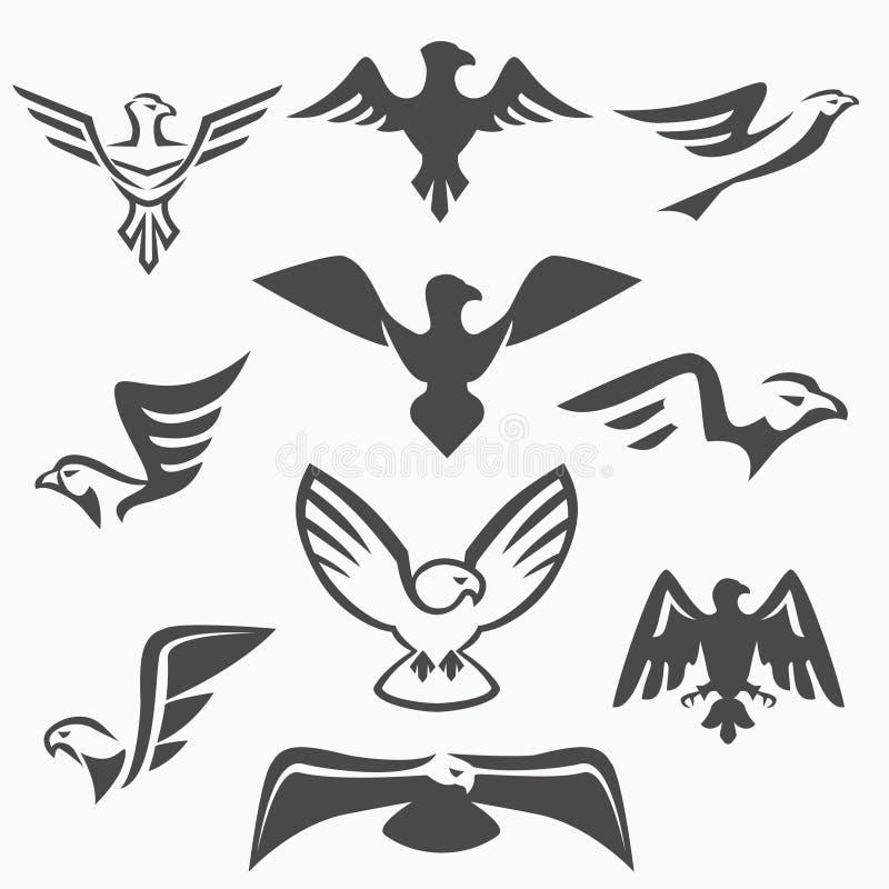 Set of eagle symbols stock illustration