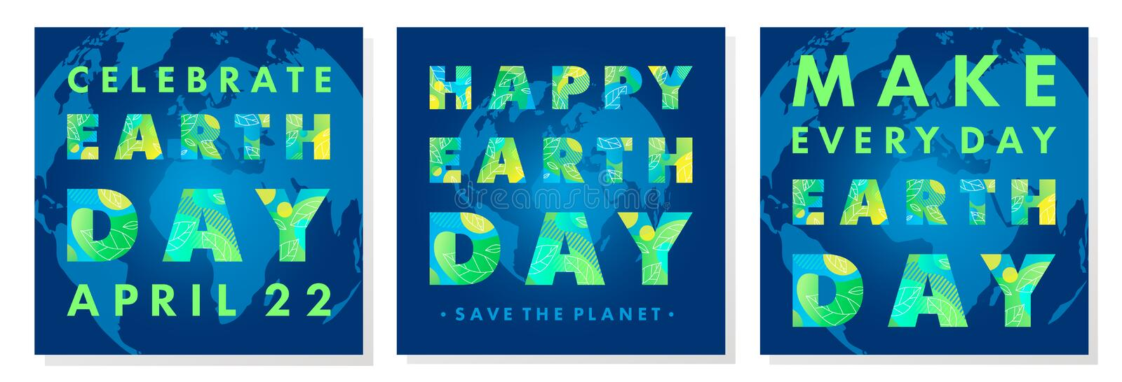 Set of Earth Day typography posters royalty free illustration