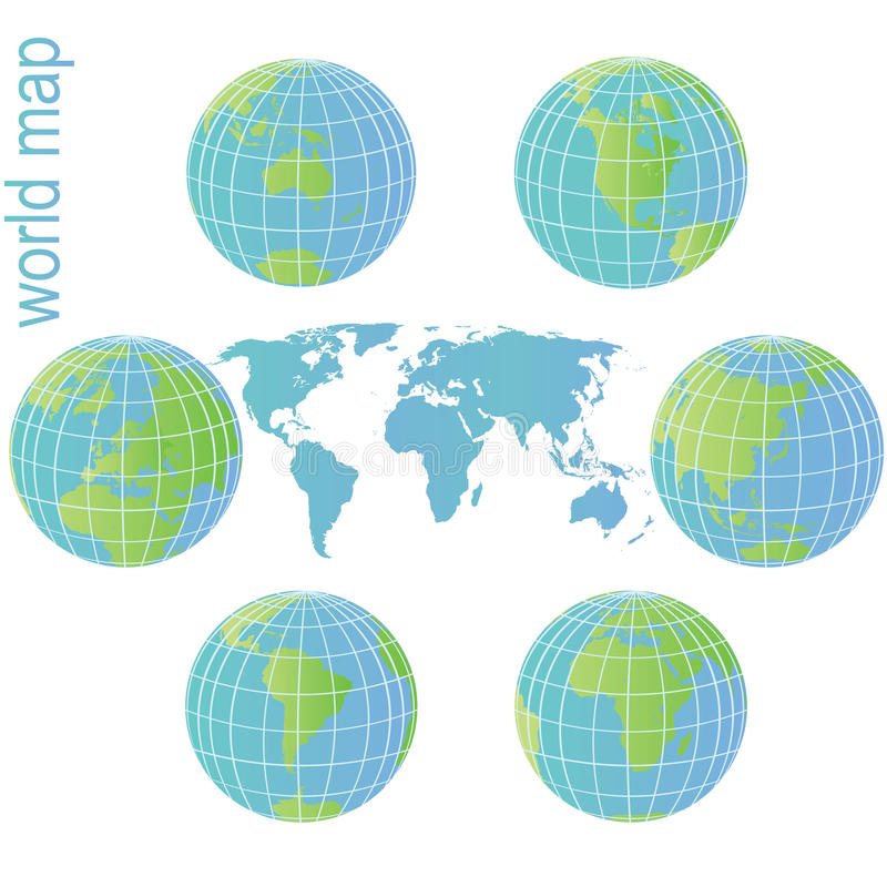 Set of Earth globes and world map