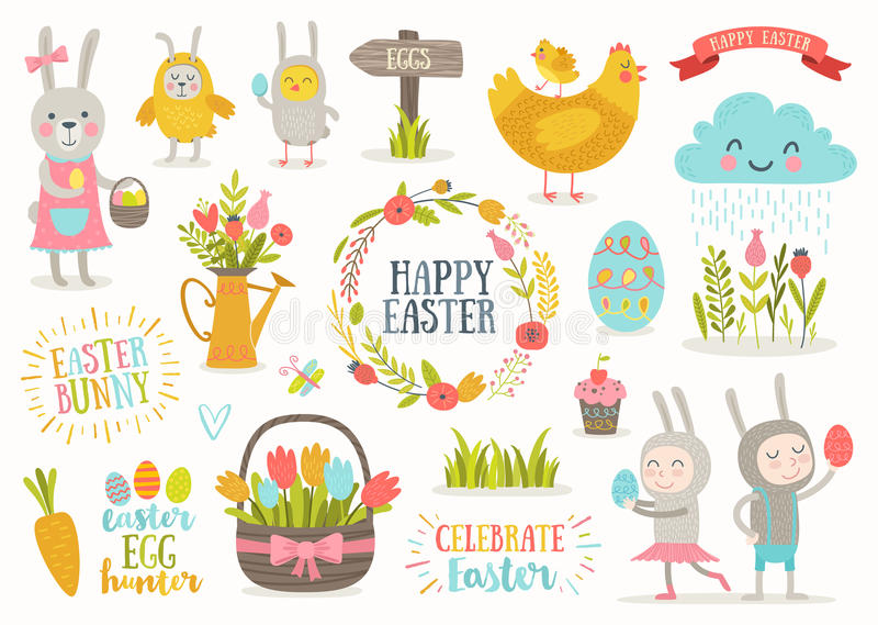 Set of Easter cartoon characters and design elements stock illustration