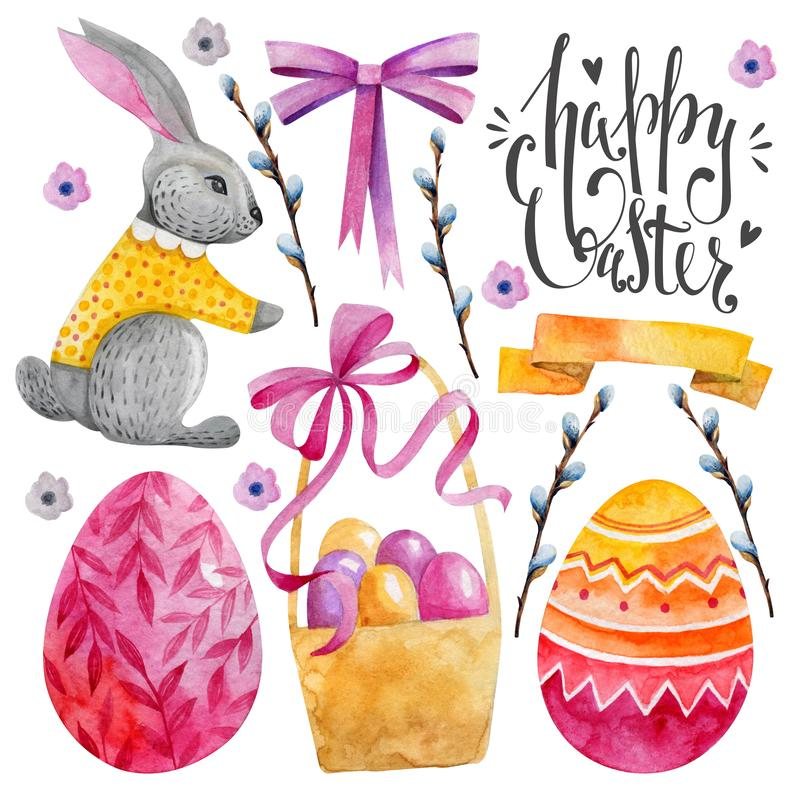 Set of easter characters. Elements for your design. Watercolor drawing. Pink shades. Rabbit, basket, Easter eggs and willow twigs stock illustration