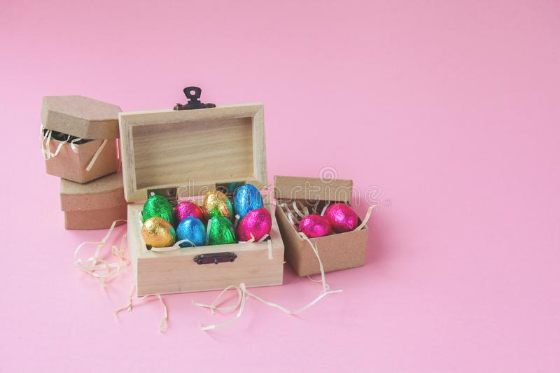 Set of Easter chocolates as a greeting card.  stock images