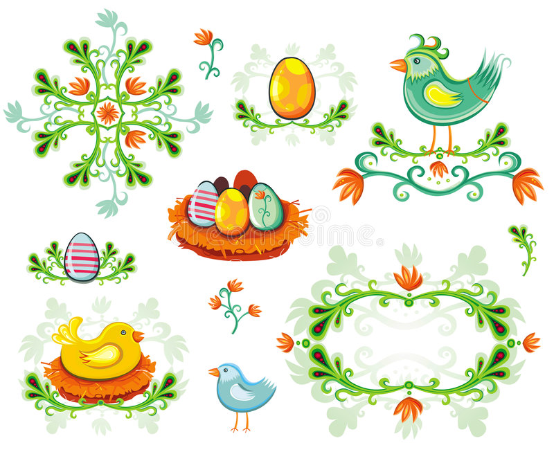 Download Set Of Easter Design Elements Stock Vector - Image: 4445890